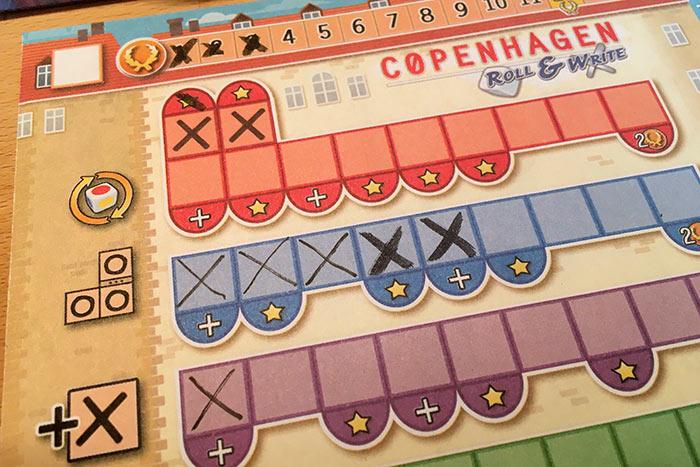 Ausgefüllte Bonusleisten bei Copenhagen Rol & Write.