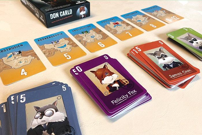 Don Carlo Kartenspiel vom Moses-Verlag: Vier Familien kämpfen um ihren Einfluss in sechs fiktiven Ländern.